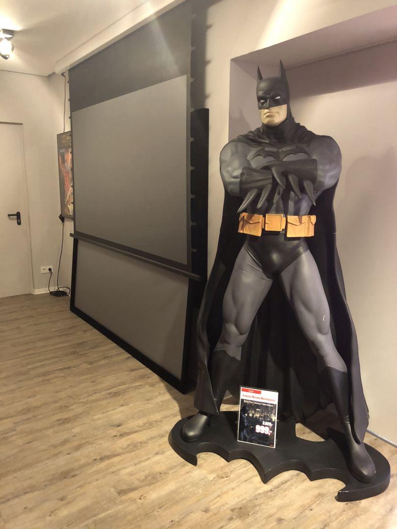 Batman bewacht zwei High Gain Leinwände für die Projektion unter allen Lichtverhältnissen